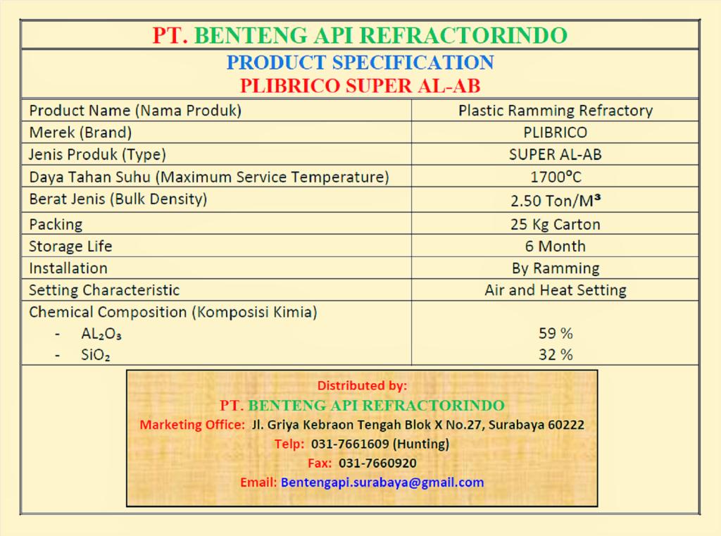 Produk Plibrico Super AL AB-Plastic Ramming Plibrico Super AL AB