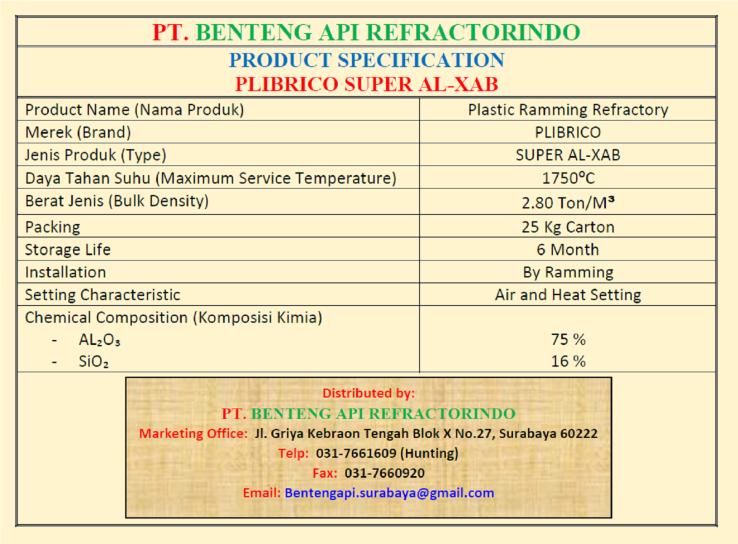 Produk Plibrico Super ALX AB-Plastic Ramming